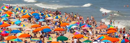 Ocean City umbrellas on the beach